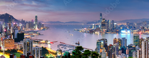 Hong Kong skyline at night, China - Asia Canvas Print