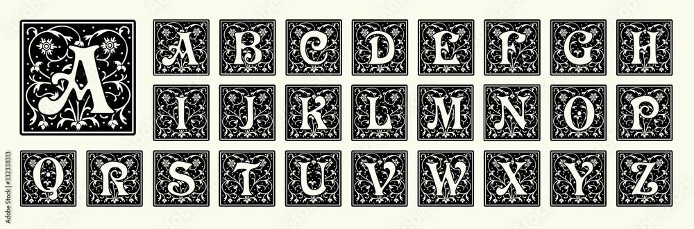 Fototapeta Vintage set capital letters, floral Monograms and beautiful filigree font. Art Deco, Nouveau, Modern style.