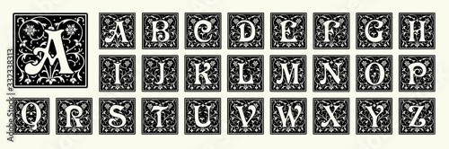 Vintage set capital letters, floral Monograms and beautiful filigree font Fotobehang