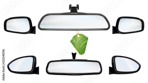 Car Rearview Mirrors With Air Freshener Set Vector Canvas Print