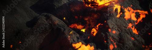 Fotografiet lava stream, fiery magma flow, molten rock landscape background banner