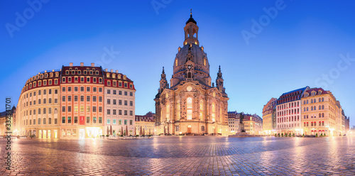 Dresden panorama in frauenkirche square at night, Germany