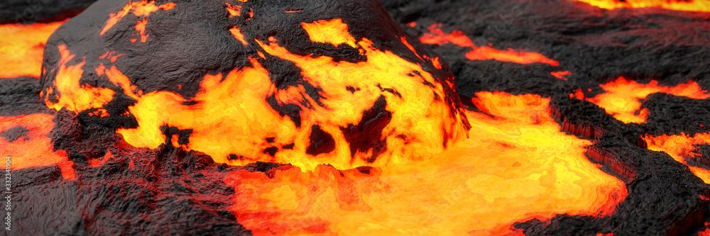 Fototapeta lava stream, fiery magma flow, molten rock landscape background banner