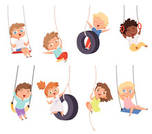 Swing Rides. Gymnastic Exercise Of Childrens On Rope Amusement Attraction Happy Kids Vector Set. Childhood Play Cheerful, Swinging Activity Illustration