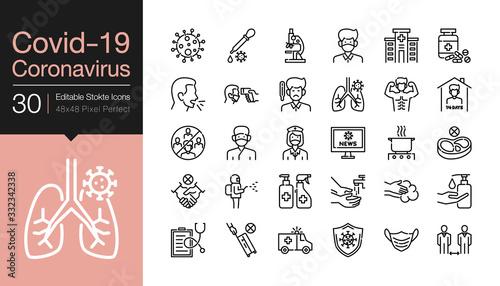 Cuadros en Lienzo Covid-19 / Corona virus icons