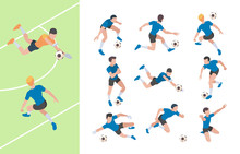 Soccer Characters. Isometric Athletics Persons Football Players Sprinting On Field Vector 3d People. Soccer Athlete, Goalkeeper Isometric, Player Team Illustration