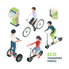 ECO Transport People. 3D Bicycle Electric Car Urban Vehicle Bike Segway Vector Isometric Illustrations. Isometric Scooter, Street Friendly Vehicle, Ecologic Bicycle