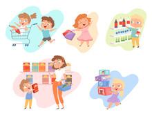 Kids Shopping. Children Playin...