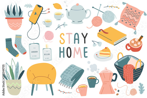 Obraz Stay home collection, indoors activities, concept of comfort and coziness, set of isolated vector illustrations, scandinavian hygge style, isolation period at home - fototapety do salonu