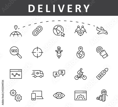 Photo Set of SEO Related Vector Line Icons
