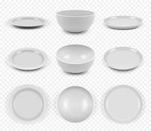 Ceramic Utensils. Kitchen Elegant Empty Plates Dishes Bowls For Food Vector Collection Set. Illustration Kitchen Dish, Dishware Ceramic, Realistic Crockery