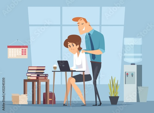 Fototapety, obrazy: Office harassment. Sexual molestation on workplace. Leader and female worker, management vector illustration. Harassment female at workplace, work problem
