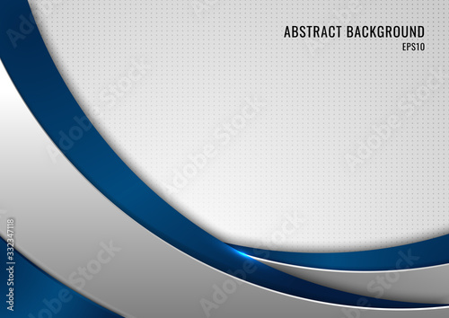 Obraz Abstract template blue and gray curve on square pattern white background. Technology concept. - fototapety do salonu