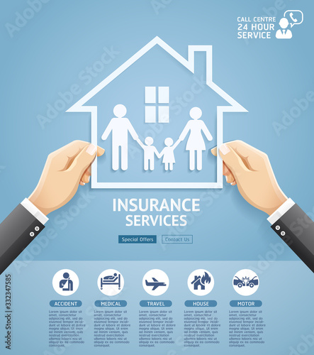 Fototapeta Insurance policy services conceptual design. Hand holding a paper family in house. Vector Illustrations. obraz