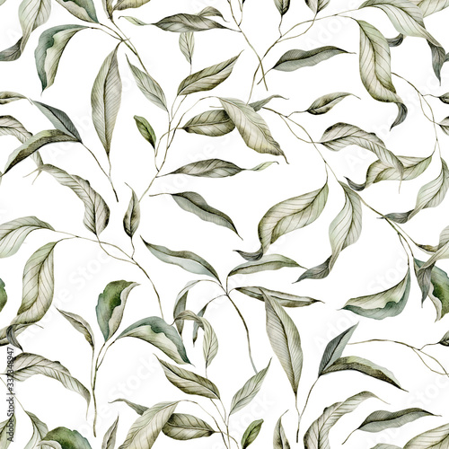 Tapeta zielona  seamless-watercolor-pattern-with-branches