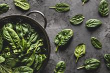 Fresh Mini Spinach In A Coland...