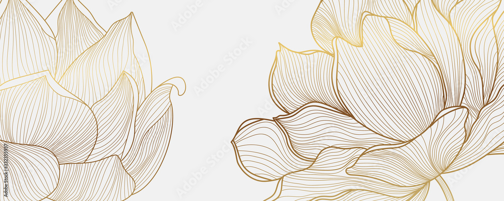 Fototapeta Luxury wallpaper design with Golden lotus and natural background. Lotus line arts design for fabric, prints and background texture, Vector illustration.