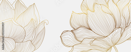 Luxury wallpaper design with Golden lotus and natural background. Lotus line arts design for fabric, prints and background texture, Vector illustration. - 332355937