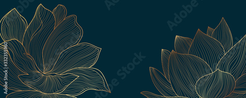 Luxury wallpaper design with Golden lotus and natural background. Lotus line arts design for fabric, prints and background texture, Vector illustration. - 332355960