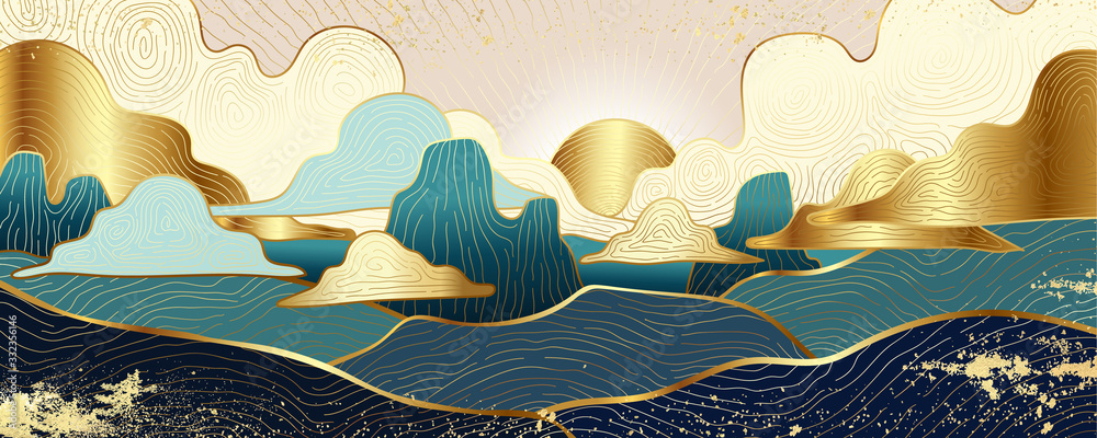 Fototapeta andscape wallpaper design with Golden mountain line arts, luxury background design for cover, invitation background, packaging design, fabric, and print. Vector illustration.