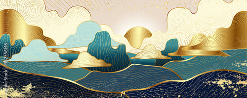 Obraz andscape wallpaper design with Golden mountain line arts, luxury background design for cover, invitation background, packaging design, fabric, and print. Vector illustration. - fototapety do salonu