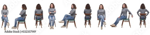 collage of a woman sitting on a chair in white background, profile, front and ba Fototapeta