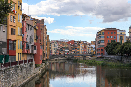 View of the coloured houses on the river, Girona, Spain