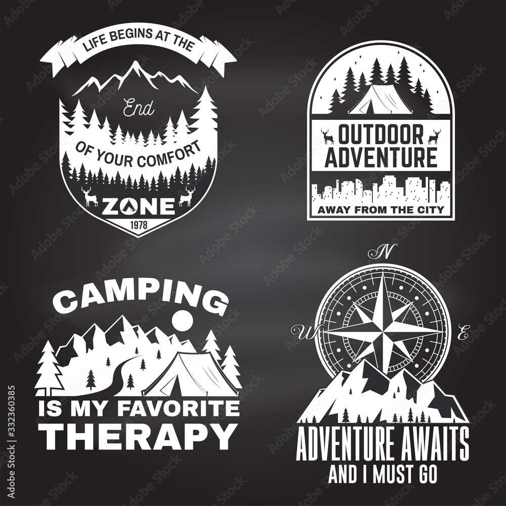 Fototapeta Set of outdoor adventure inspirational quote. Vector. Concept for shirt, logo, print, stamp or tee. Vintage typography design with camper tent, mountain, forest, camper trailer silhouette