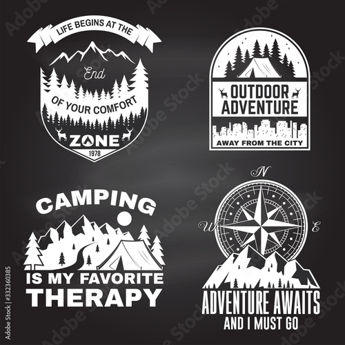 Obraz Set of outdoor adventure inspirational quote. Vector. Concept for shirt, logo, print, stamp or tee. Vintage typography design with camper tent, mountain, forest, camper trailer silhouette - fototapety do salonu