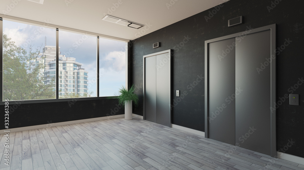 Fototapeta lobby with a large window. Reception in the business center. elevator doors. decorative dark walls.. 3D rendering