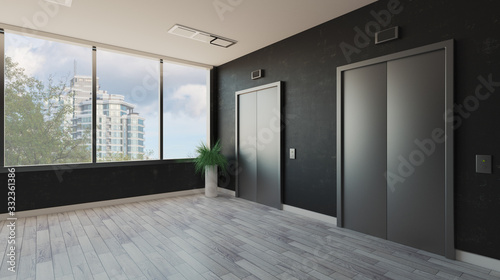 Obraz lobby with a large window. Reception in the business center. elevator doors. decorative dark walls.. 3D rendering - fototapety do salonu