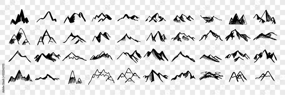 Fototapeta Sketch, hand drawn mountain peaks set collection