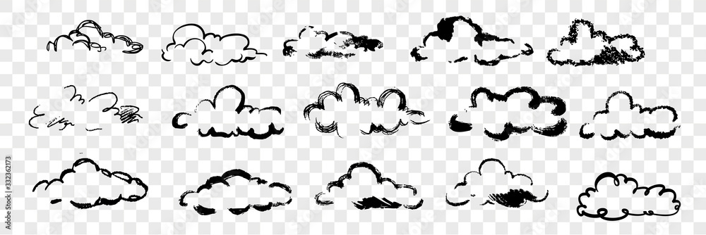 Fototapeta Hand drawn clouds set collection