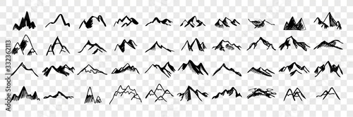 Sketch, hand drawn mountain peaks set collection
