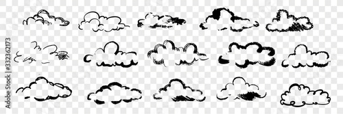 Leinwand Poster Hand drawn clouds set collection