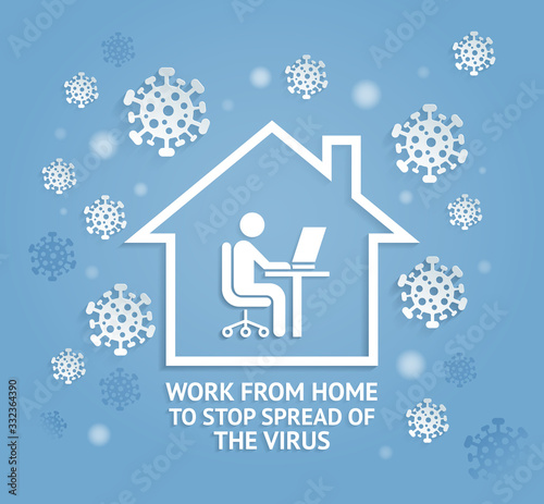 Fotografia Work from home to stop spreadof the virus paper cut style vector illustrations
