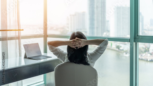 Fotomural Work from home healthy lifestyle with Asian business woman relaxing take it easy
