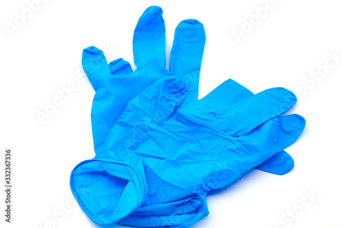 Photo Pair of protective blue latex gloves