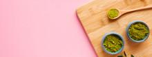 Matcha Tea On Wooden Cutting B...