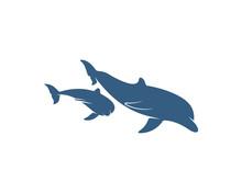 Dolphins Logo Design Vector Te...