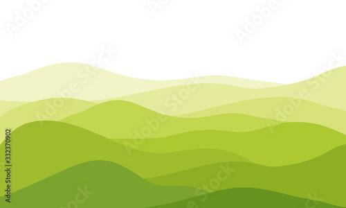 Valokuva abstract fields, green waves hills on white background, vector illustration