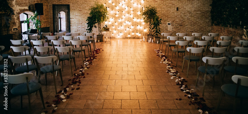 Fotomural Wedding ceremony arch decoration with lights