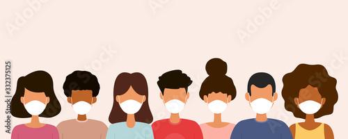 Fotografija Group of people wearing medical face masks