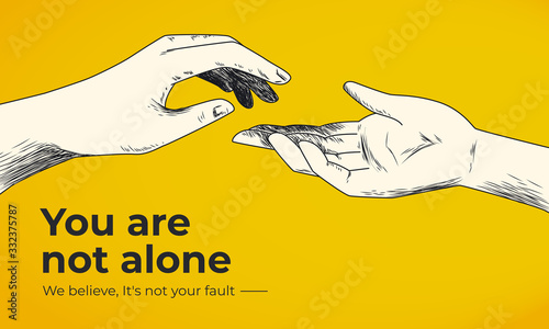 Cuadros en Lienzo Hand drawn helping hand vector illustration on yellow background