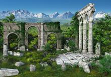 3D Rendered Fantasy Landscape ...