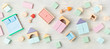 canvas print picture - Flat lay with wooden  blocks in pastel colors. Eco friendly, zero waste, plastic free, educational, gender neutral toys for children