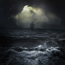 Stormy Sea Ship In The Distanc...