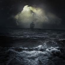 Stormy Sea Ship In The Distance Romantic Scene Dark Sky Clouds Sun Rays