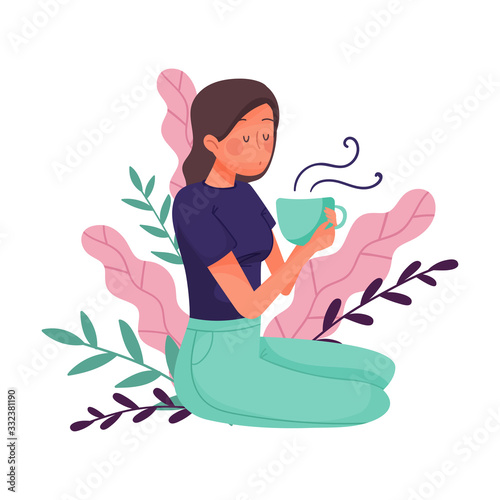 Young Dark-haired Girl Sitting on the Ground with Cup of Hot Beverage with Floral Leaves Behind Vector Illustration