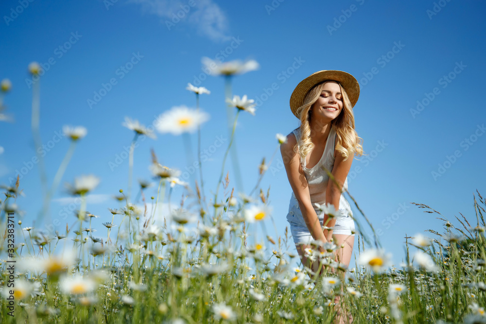 Fototapeta Woman in a field with flowers. A young and beautiful girl is resting in a chamomile field.